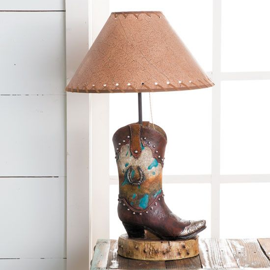 Horseshoes And Cowhide Resin Boot Lamp Boots Western Decor Western Bedrooms