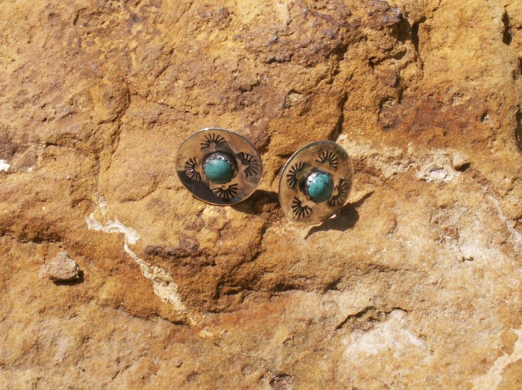 Sterling post earrings I just finished ~ sunburst design with turquoise ~ $30.00