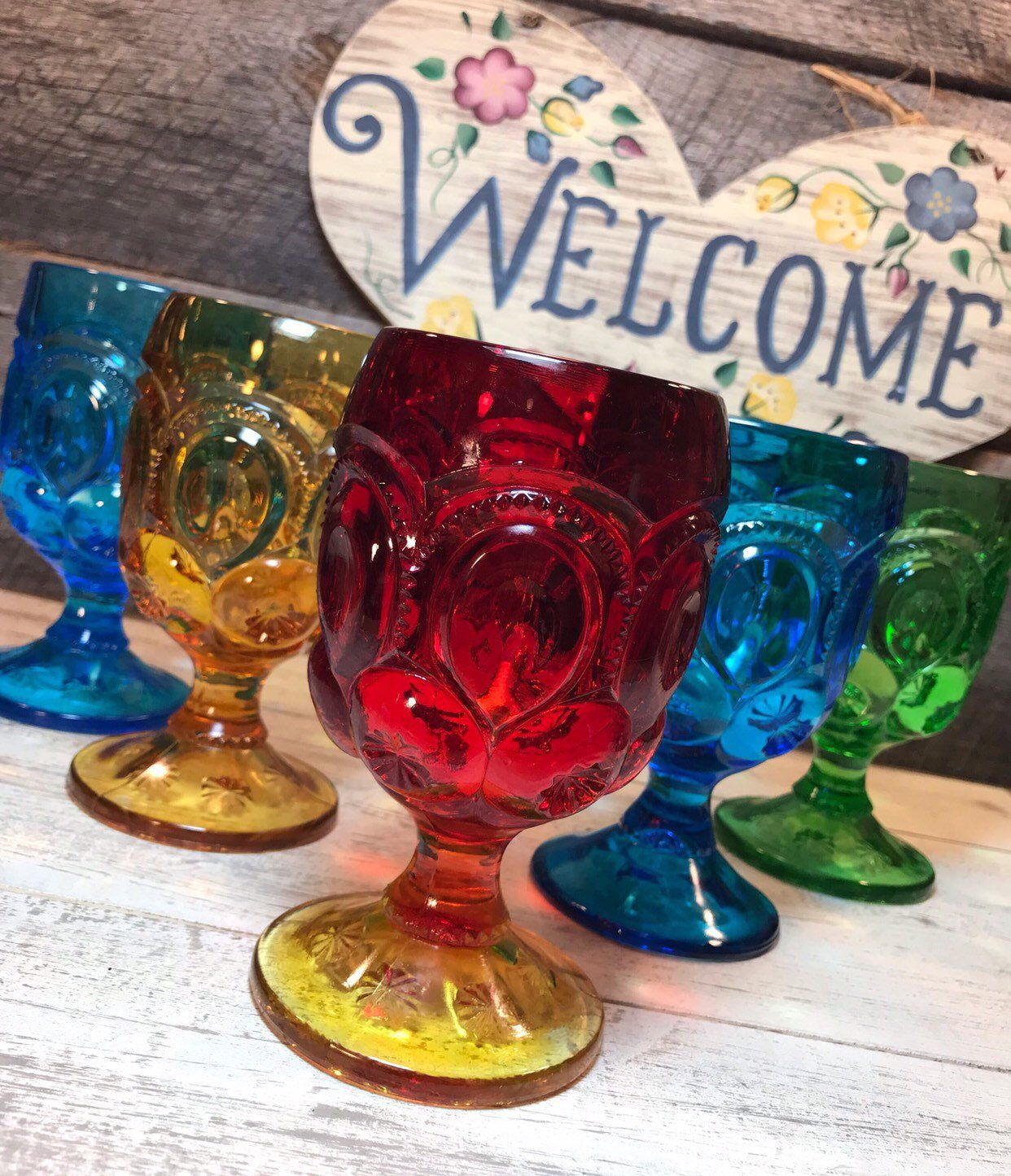 Gorgeous Set Of 5 Five Mult Colored Moon And Stars Water Goblets By Smith Glass L E Smith Wedding Colored Glassware Wedding Reception Glasses Viking Glass