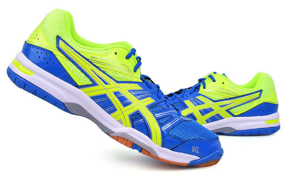 ASICS GEL ROCKET 7 Men's Badminton Shoes Sports Running / Indoor Yellow  Blue NWT