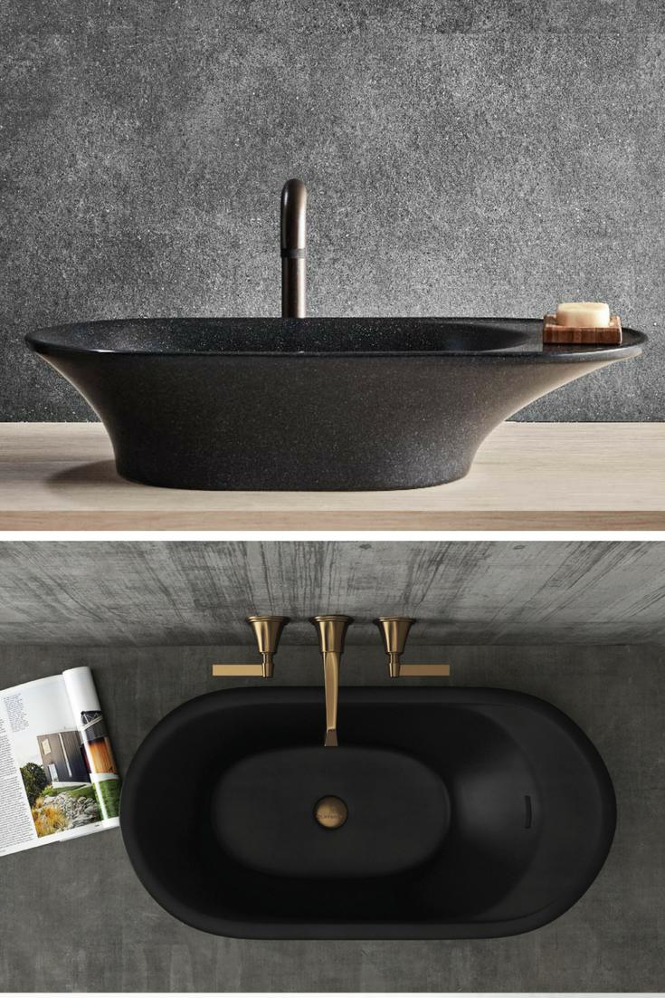 Opus Stone Basin Black Sink Gold Bathroom Stylish Sink Ideas Modern Sinks Small Bathroom Remodel Stone Basin Modern Bathroom Decor