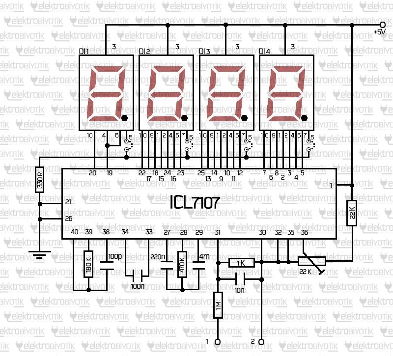 icl7107 dijital voltmetre devresi
