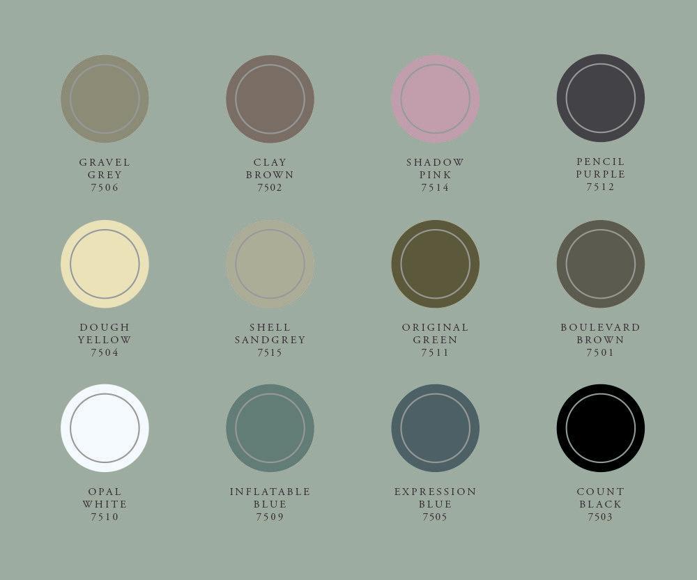 Het kleurenpalet van Histor Krijtverf bestaat uit 12 tinten die perfect op elkaar zijn afgestemd. Histor Krijtverf is daarnaast mengbaar in alle vergrijsde tinten van The Color Collection.