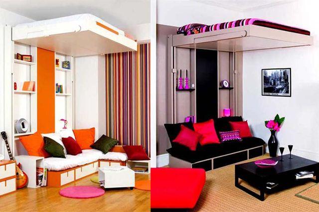 Camas para habitaciones con poco espacio cubo habitable pinterest camas espacios y - Habitaciones infantiles dobles poco espacio ...