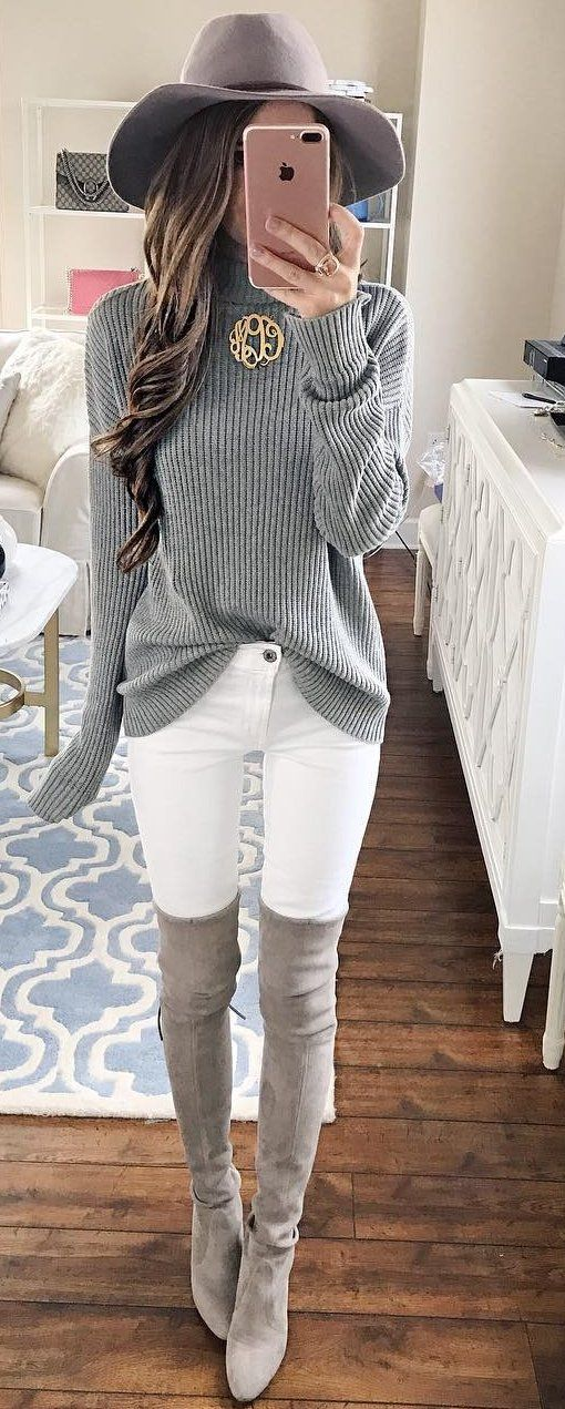 grey oversized sweater  white jeans  knee length boots
