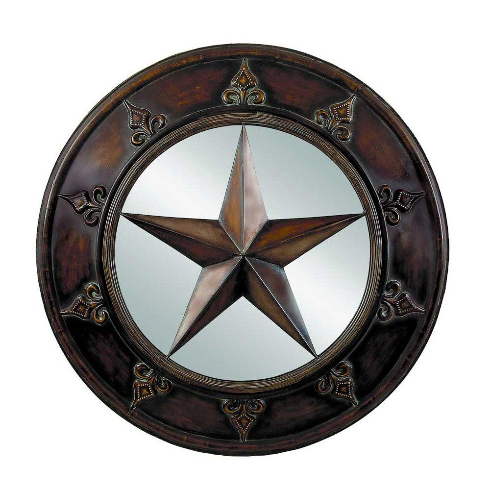 Texas Star Wall Art million dollar 14-m-75718 texas star round wall mirror, rustic
