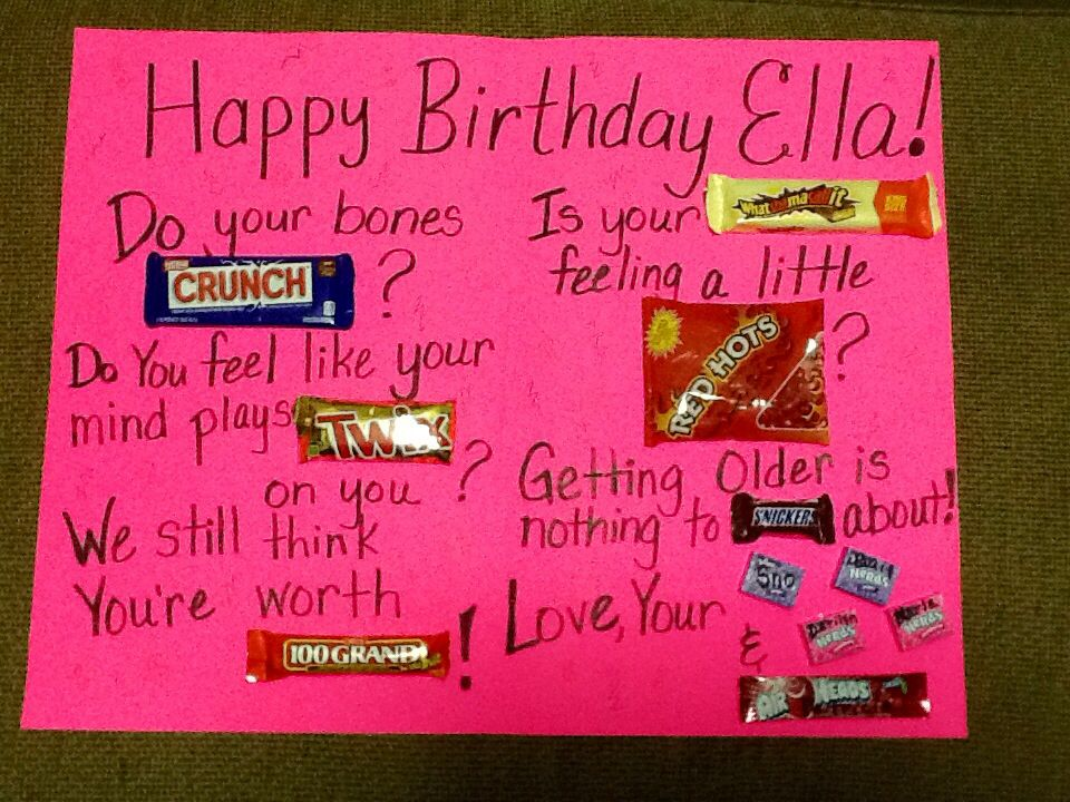 Candy Greeting Birthday Card On Poster Board I Made This For Our