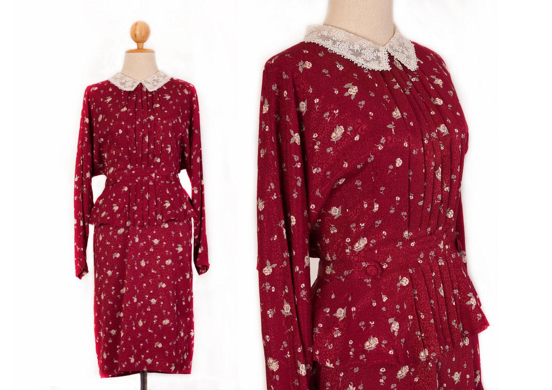 Burgundy Dress 1960s dress Long dress Midi dress