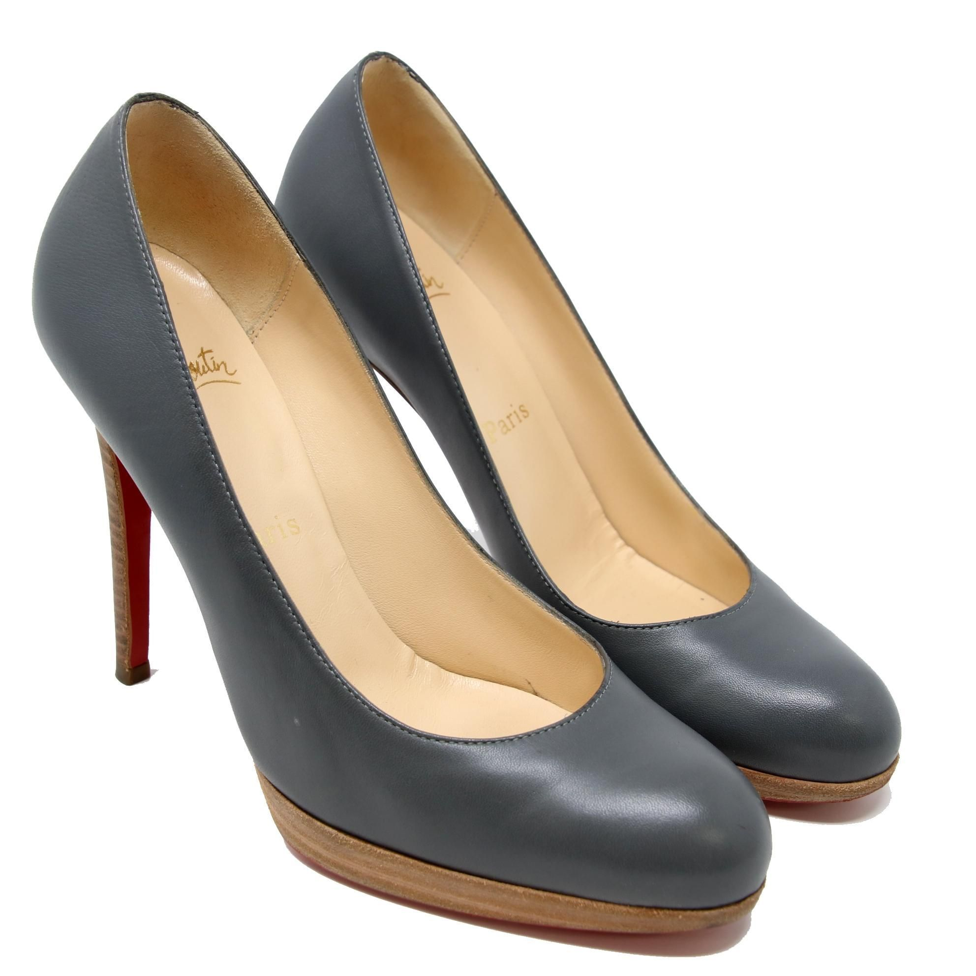 90509fb8b9 ... norway christian louboutin grey signature kid capretto decollete 868  style 120 sz. 38.5 8.5 us