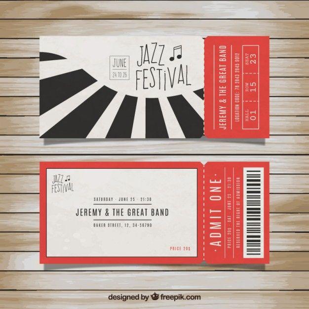 ジャズフェスティバルのチケット 無料ベクター ticket design