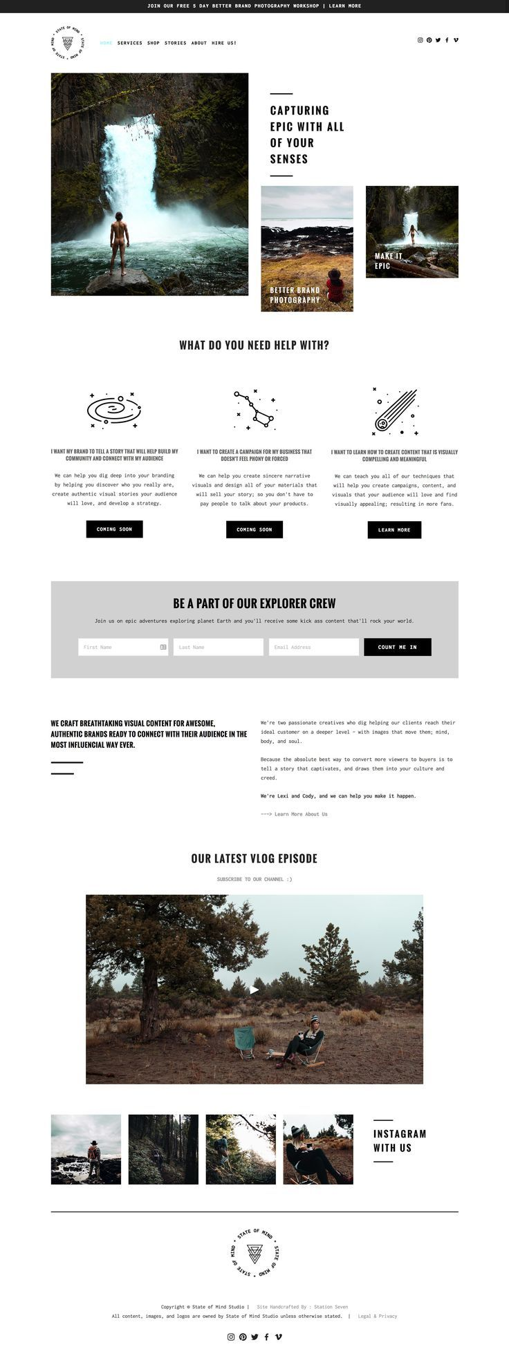 State of Mind's northwest inspired website and travel blog is running on Station Seven's Acadia Squarekit for Squarespace!