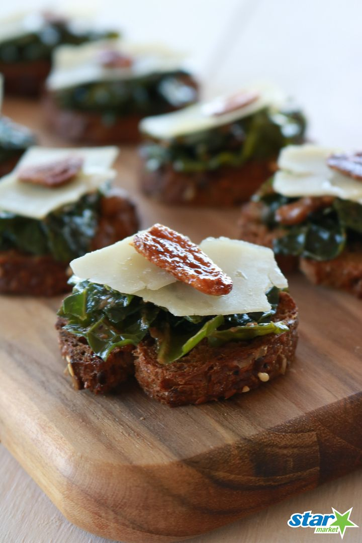 This Kale Crostini recipe only takes a half hour to make and is the perfect party appetizer!