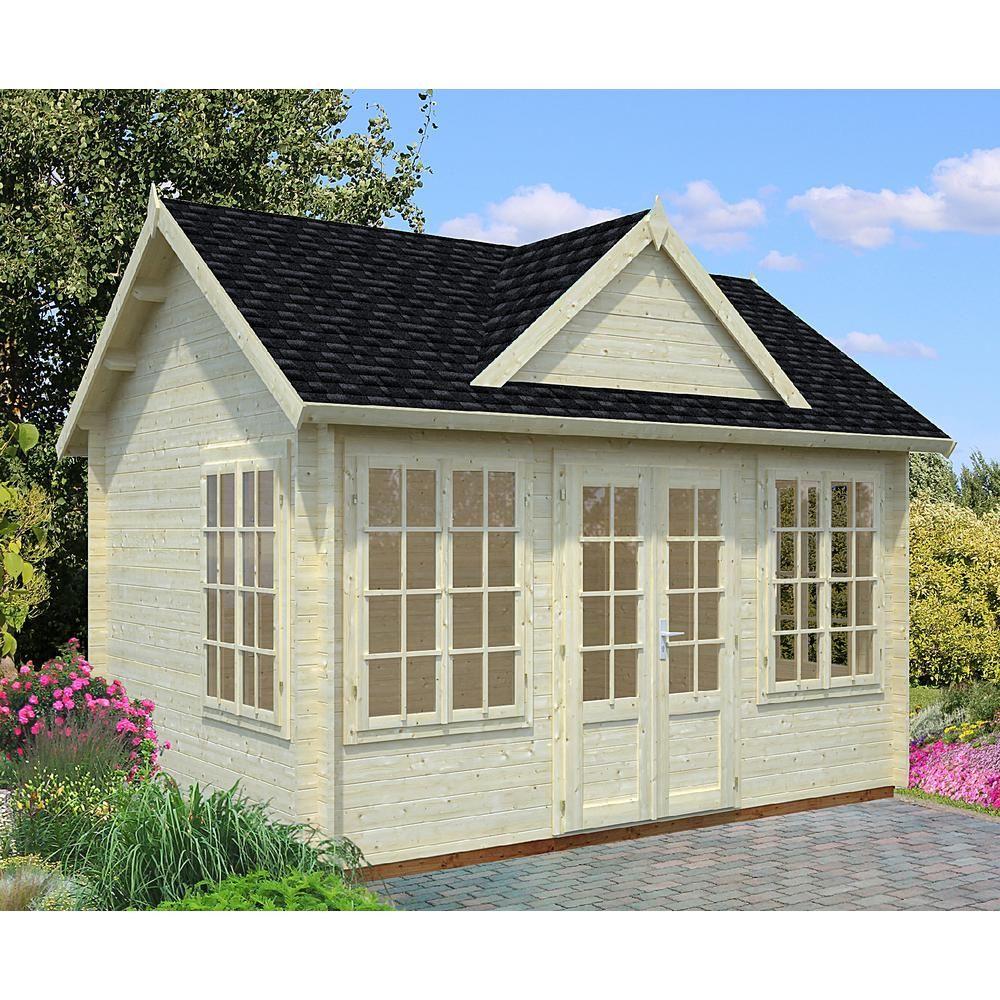 Allwood Chloe 123 Sq Ft Kit Cabin Cab Chloe Hd The Home Depot Corner Summer House Tiny House Kits Shed Homes