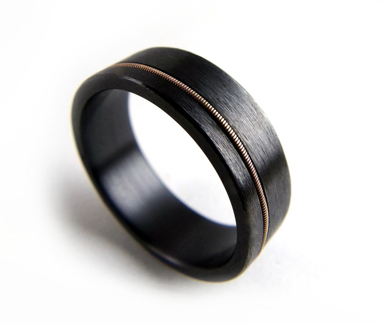 Black Zirconium Ring Guitar String Metal Jewelry Men Women Wedding Ringblack Band: Guitar Wedding Rings For Men At Websimilar.org