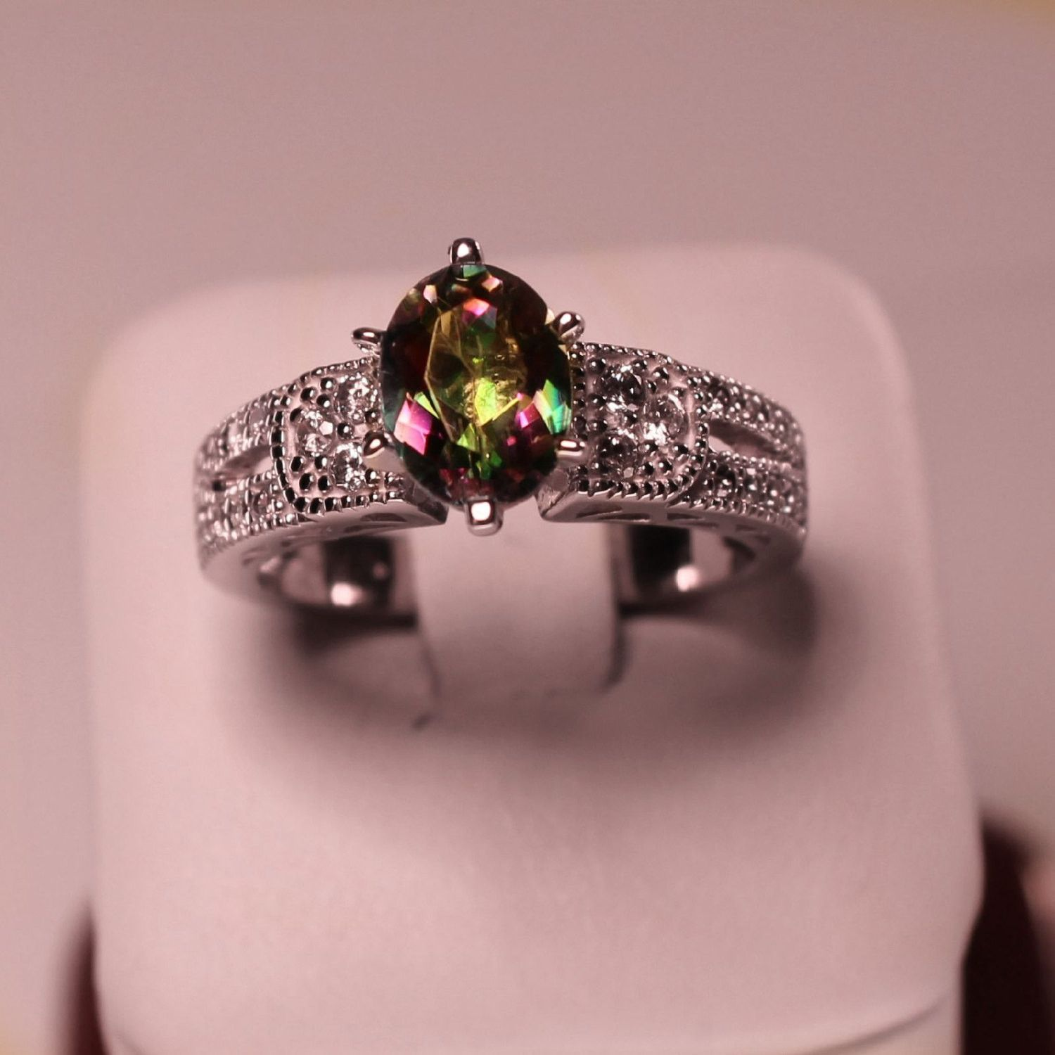 Maleficent Ring - Art Deco Sterling Silver and Oval Mystic Topaz ...