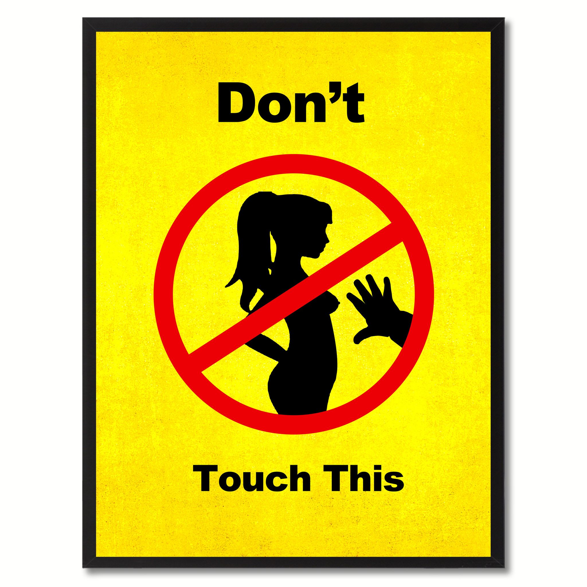 Don\'t Touch This Funny Adult Sign Yellow Print on Canvas Picture ...