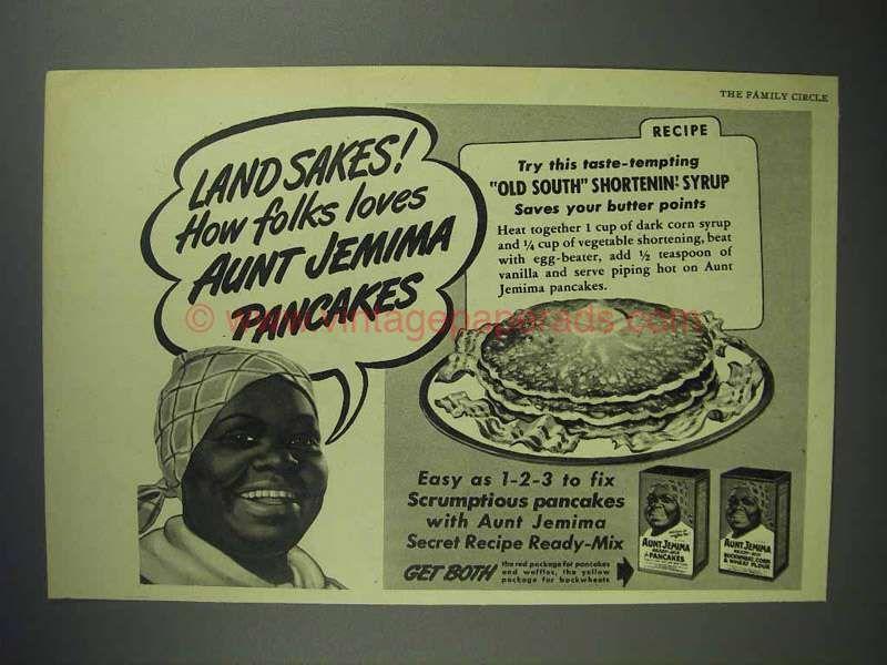 1945 aunt jemima pancake mix ad land sakes aunt jemima