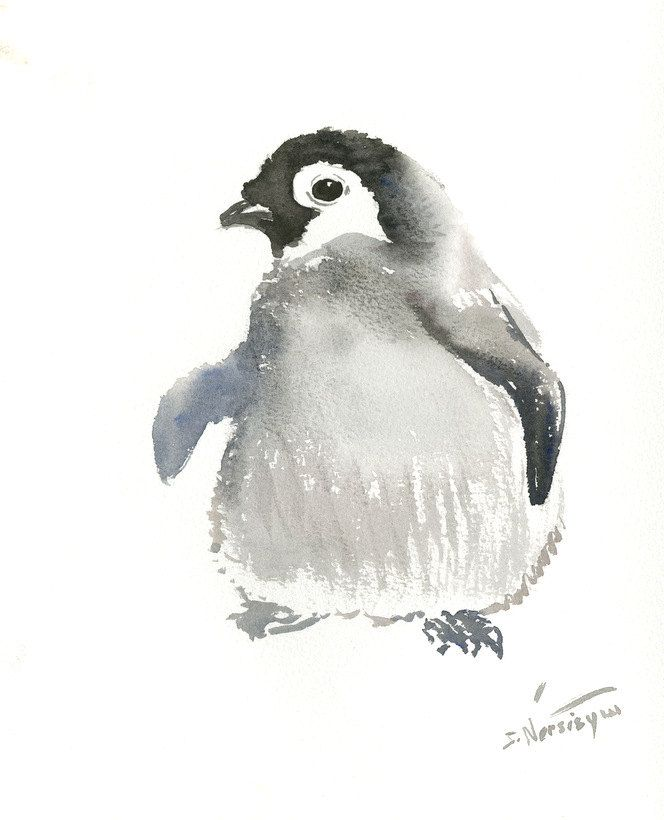 Cute Penguin Original Watercolor Painting 10 X 9 In Nursery Wall