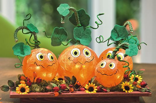Beleuchtete Acrylkugeln Im Kürbis Look Halloween Kürbis