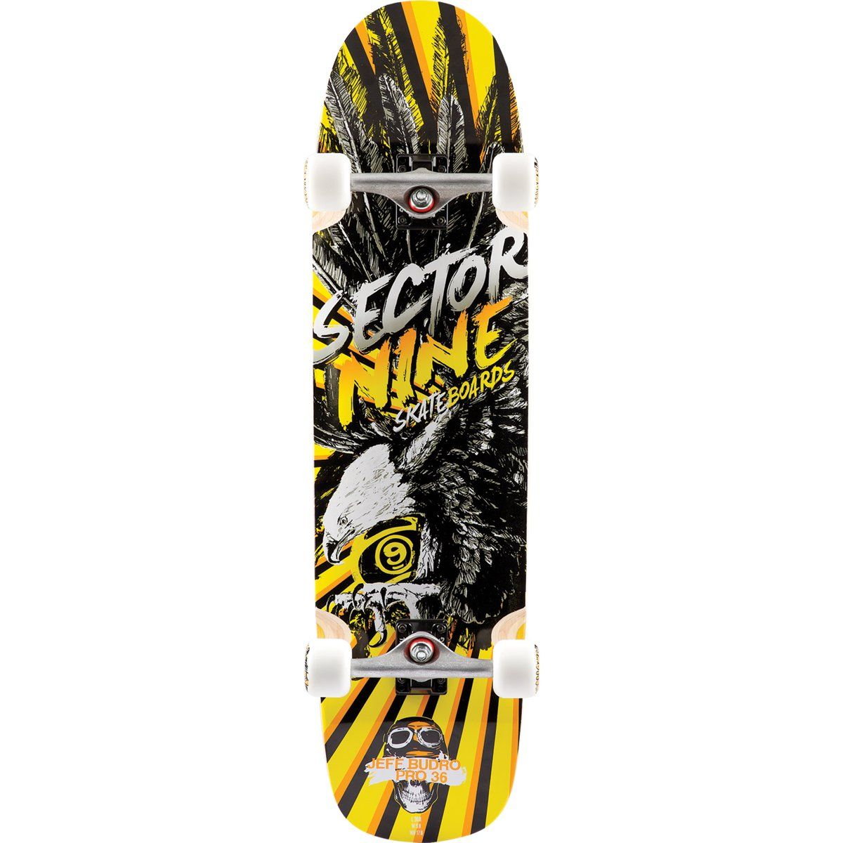 "Sector 9 Budro Pro Complete Skateboard, Yellow. Assembled with: 9.0 inch Gullwing shadow trucks, 61mm 78A marshmallows wheels, ABEC 5 grease ball bearings, erg grip tape. Constructed with: 7 piles of cold pressed Maple, solo pro mold, top mount. Dimensions: 36.25"" length x 9.25"" width x 17.0"" Wheel-Base. Riding style: free ride, Park. Wheel Colors may vary."