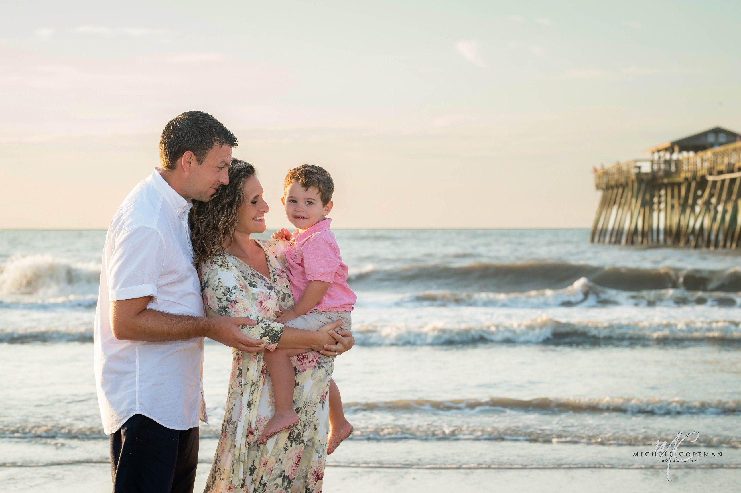 Sunrise Family Portrait near the pier at Myrtle Beach