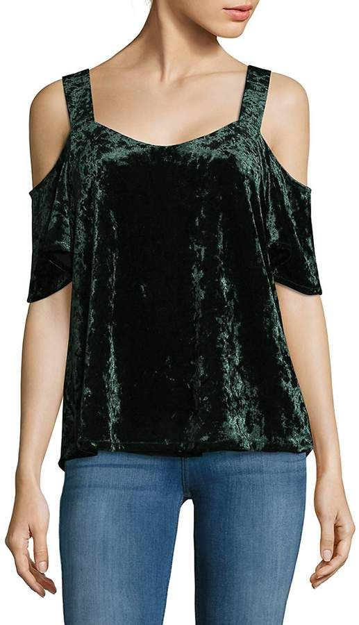 ab08cac76de3b Sanctuary Women s Drea Cold-Shoulder Velvet Top - Meadow Green