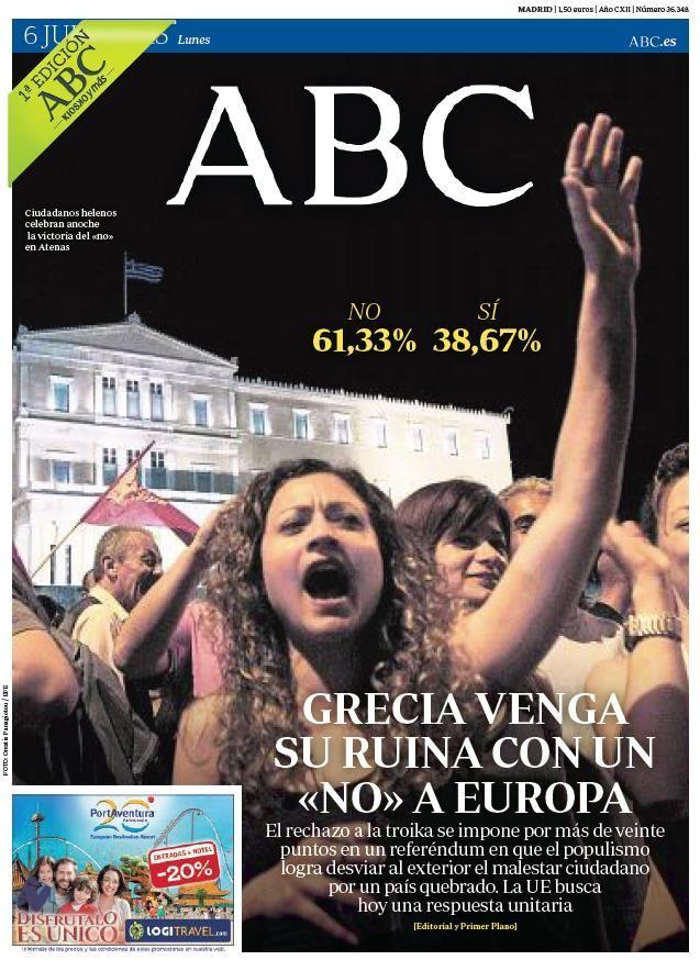 La portada de ABC del lunes 6 de julio