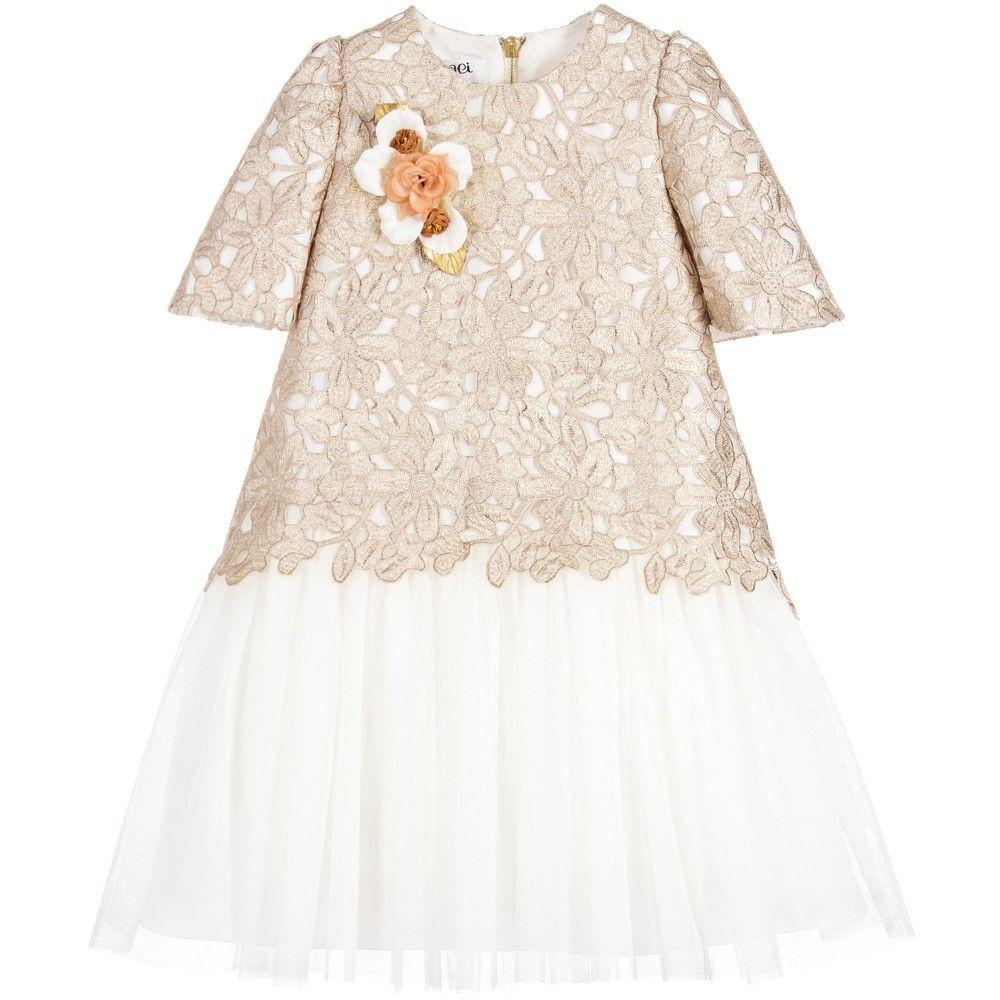 Girls ivory tulle u gold lace dress платья для девочек pinterest