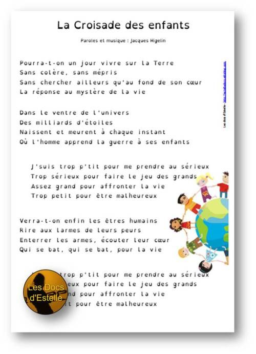 La Croisade Des Enfants Paroles : croisade, enfants, paroles, Croisade, Enfants, Jacques, Higelin, Higelin,, Comptines,, Chant, Enfant