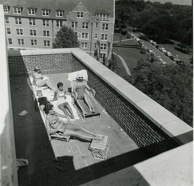 vintage FSU ladies tanning at the dorms!