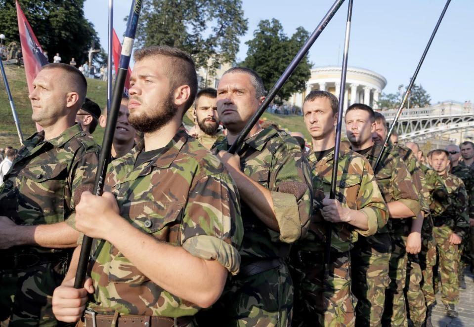 Ukrainian Right Sector members protesting in Kiev.