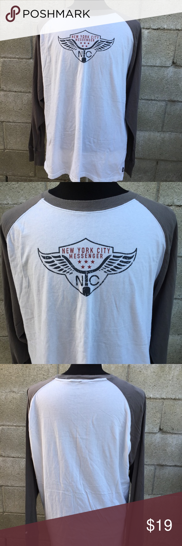 New York City Messenger Baseball T-shirt XXL New York City Messenger Baseball style T-shirt XXL grey sleeves. Gently used in good condition. See measurements in pics. Five Star Shirts Tees - Long Sleeve