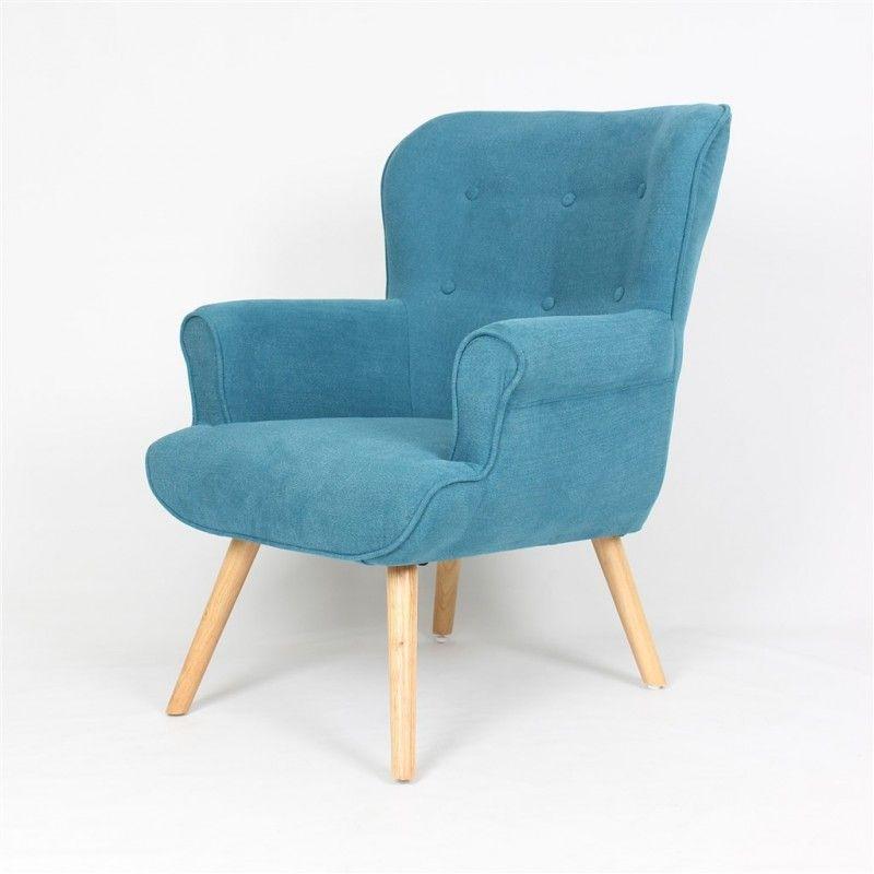trs confortable fauteuil scandinave bleu avec ses pied bois naturel - Fauteuil Scandinave Avec Repose Pied