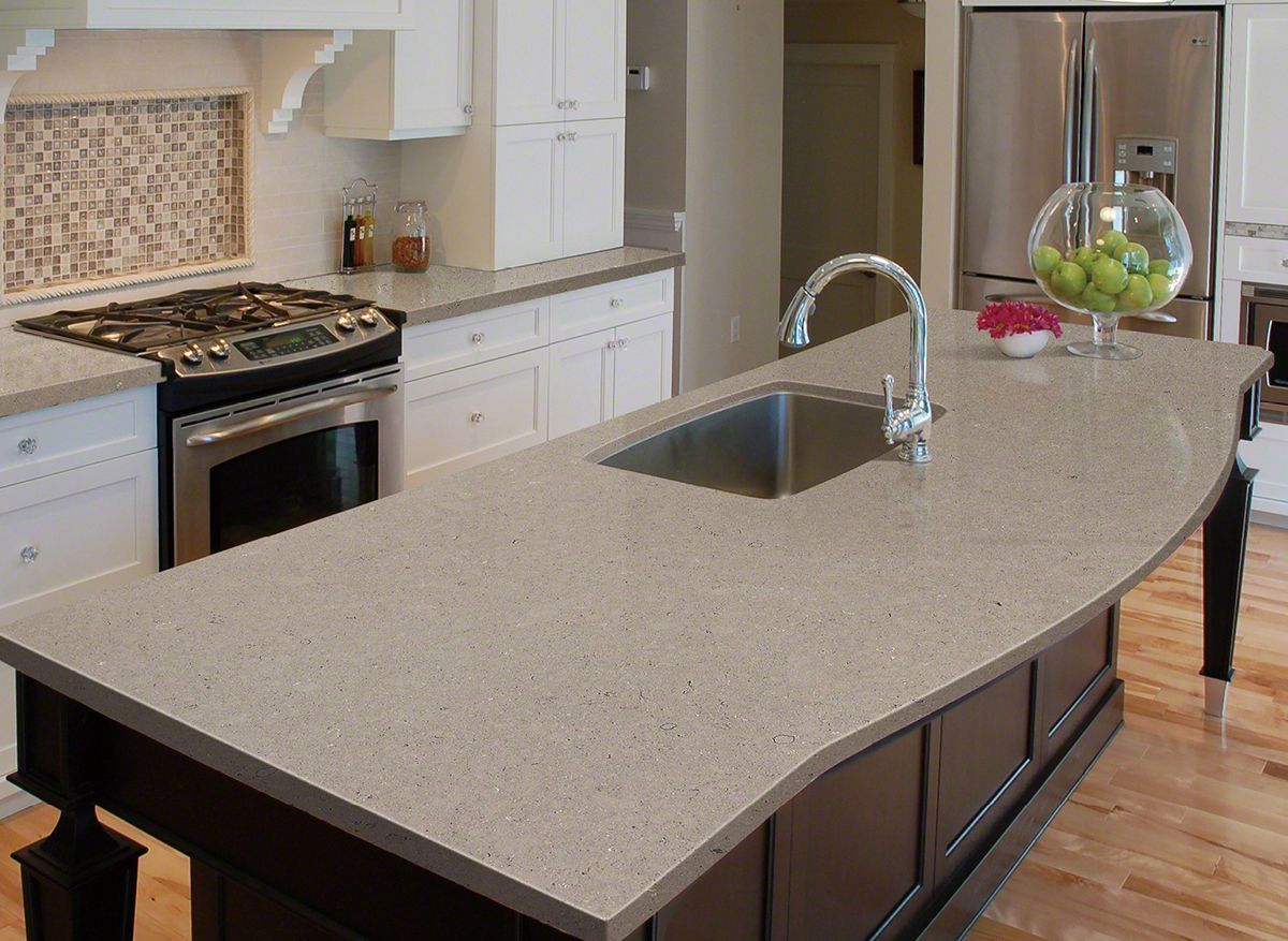 Taupe Quartz Countertop Fossil Gray Quartz Canhein In 2019 Quartz Kitchen Countertops