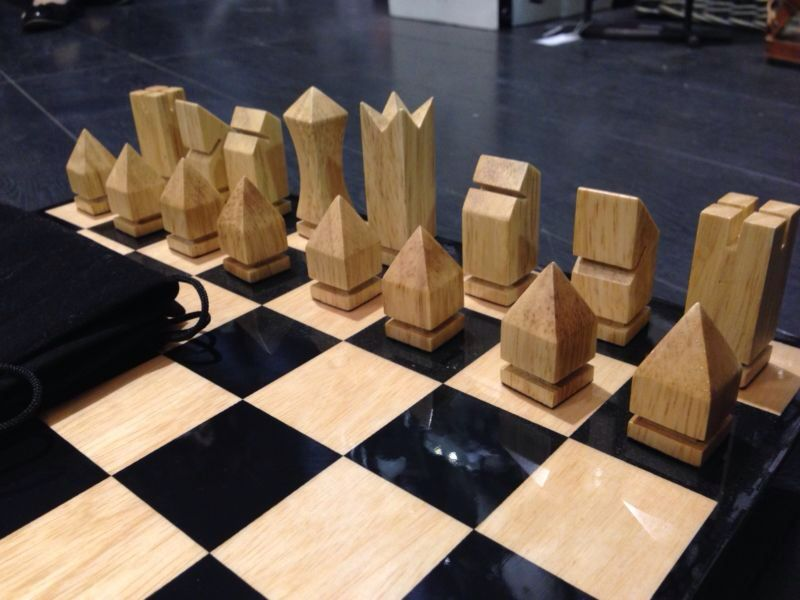 Retro Geometric Wooden Chess Set Chess Chess Chess