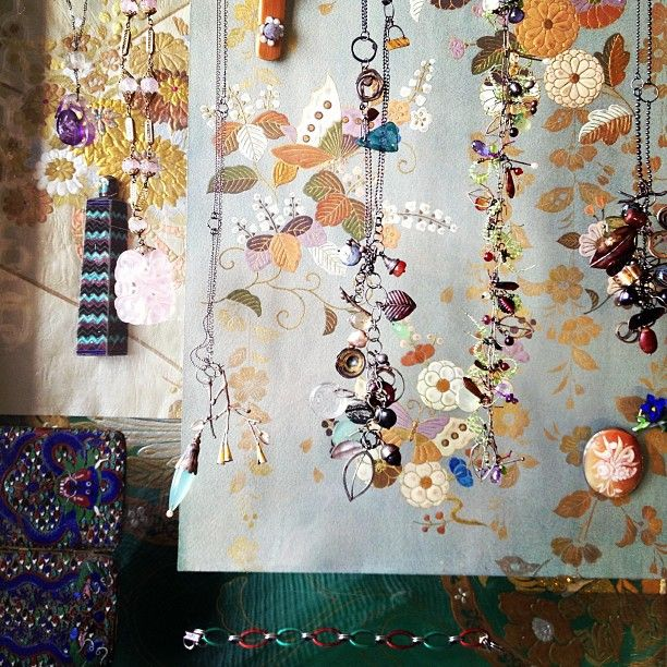 Micki Lippe necklaces against Antique Japanese paintings for Obi at Curtis Steiner