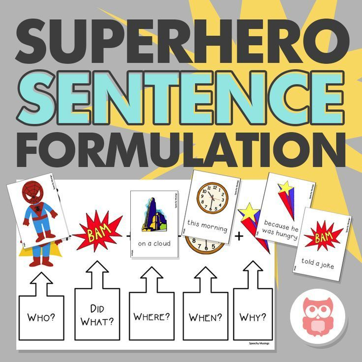 A great speech therapy activity for grammar and WH questions with a fun superhero theme. Target sentence formulation with this versatile, flexible activity. From Speechy Musings.