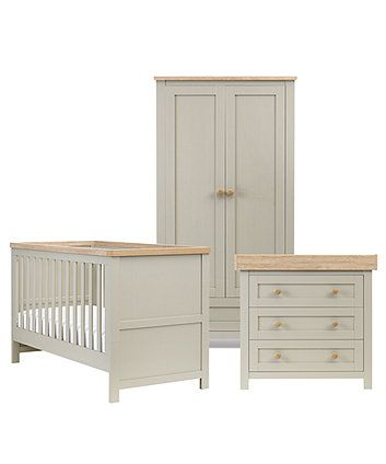 Mothercare Lulworth 3 piece Nursery Furniture Set - Grey | Nursery ...