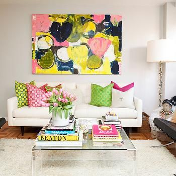 Vibrant Living Room with Pink & Green Accents and Colorful Wall Art   Teen Vogue