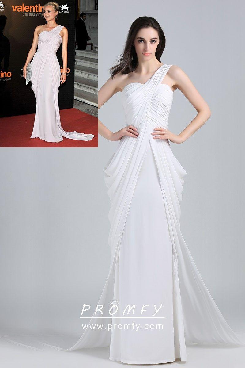 eb75fe6d41f Diane Kruger celebrity inspired draped white chiffon single shoulder strap  long unique prom dress. One shoulder strap.