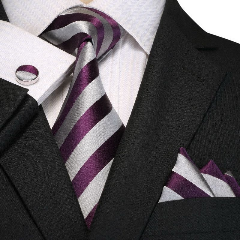 Mens Neck Ties Business Dress Casual Necktie Three-Piece Sets with Matching Pocket Square and Bow Tie Color : Purple
