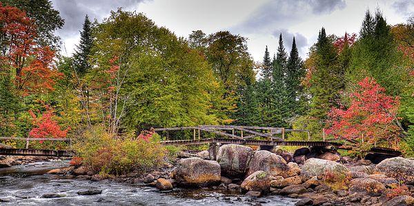 Footbridge at Indian Rapids on the Moose River in Thendara, NY. #Adirondacks #Autumn