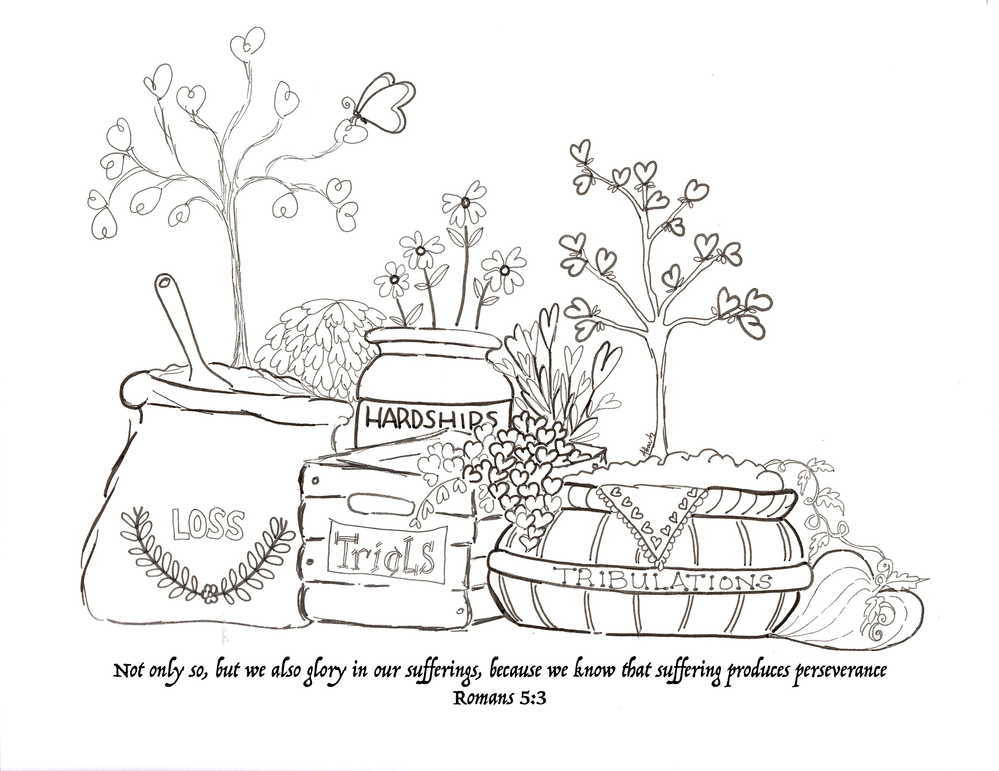Endurance xox Scripture Coloring pages Printable reflect