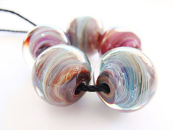 handmade lampwork beads made with silver glass terra and clear american double helix and italian