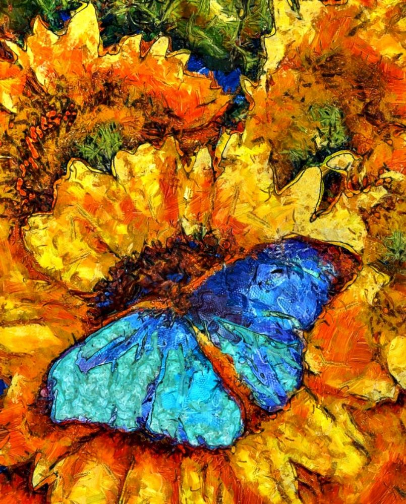 Butterfly Sunflower Van Gogh style painting -  Dynamic Auto Painter Pro 4.
