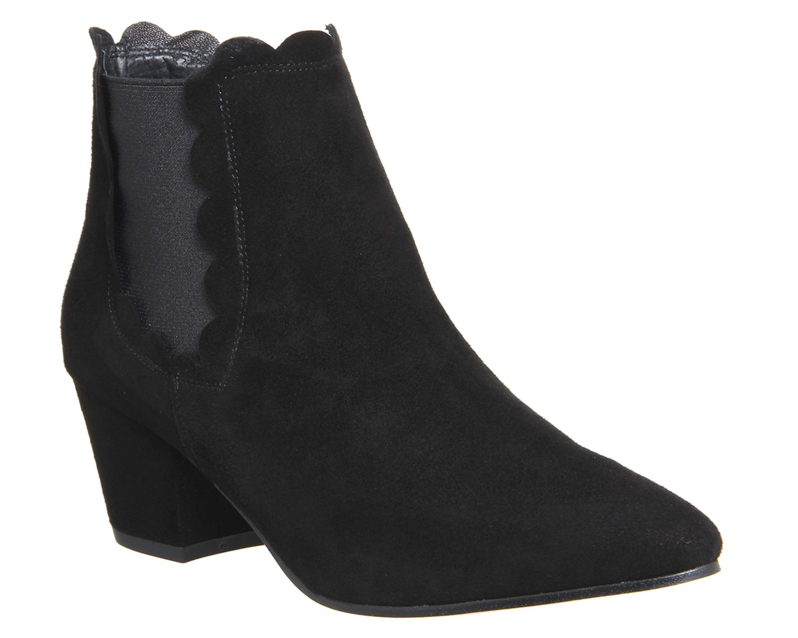 Office Isla Scalloped Topline Womens Ankle Boots Black Suede