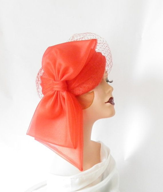 Vintage red tilt hat with HUGE bow/ matching by TheVintageHatShop