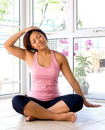 seated clasping neck stretch  yoga poses sore neck