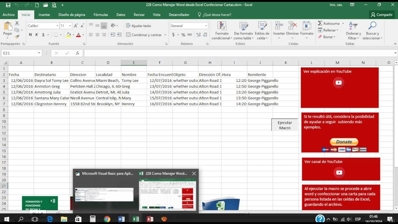 228 Como Conectar Excel con Word y Realizar Cartas de un listado de ...
