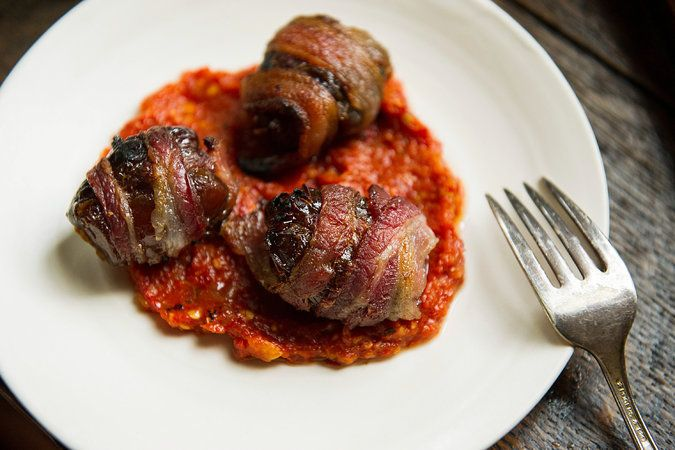 Chorizo-Stuffed Dates With Piquillo Pepper Sauce